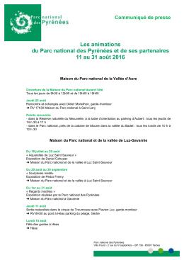 Parc National : les animations (du 11 au 31 août) - Tarbes