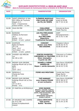 consulter le programme détaillé du mois d`Août.