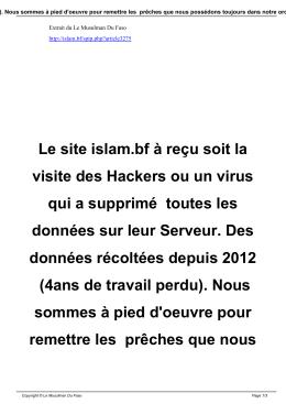 Le site islam.bf à reçu soit la visite des Hackers ou un virus qui a