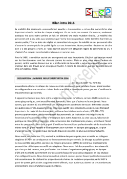 Bilan final du mouvement intra académique EPS - SNEP Aix