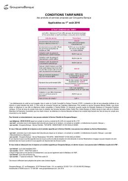 Extrait standard des tarifs applicables au 01/08/2016