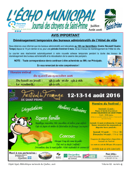 AVIS IMPORTANT - Municipalité de Saint