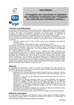 DOCTORANT « Propagation des incertitudes et calibration des