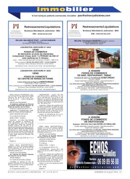Immobilier du 29 juillet 2016 - Les Echos Judiciaires Girondins