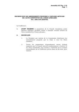 Décision sur les amendements proposes a certains articles de l`acte