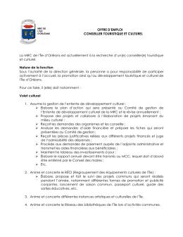 Offre d`emploi :Conseiller(e) touristique et - MRC de L`Île