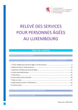 Relevé des services pour personnes âgées
