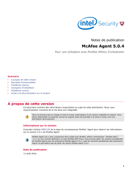 McAfee Agent 5.0.4 (For On-Premise ePolicy Orchestrator) Notes de