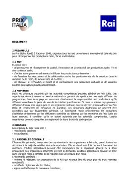 REGLEMENT 1 PREAMBULE Le Prix Italia, fondé à Capri en