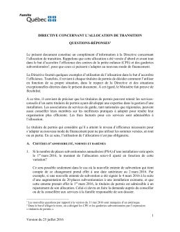 Directive concernant l`allocation de transition: questions