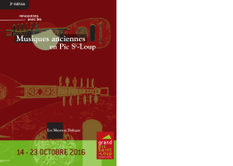 14 - 23 OCTOBRE 2016 - Musique ancienne en Pic Saint Loup
