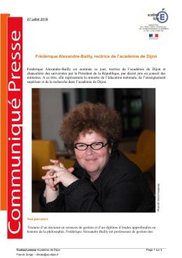Frédérique Alexandre-Bailly, rectrice de l`académie de Dijon