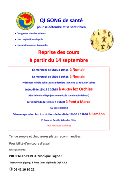 Calendrier et inscription