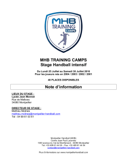 MHB TRAINING CAMPS Stage Handball intensif Note d`information