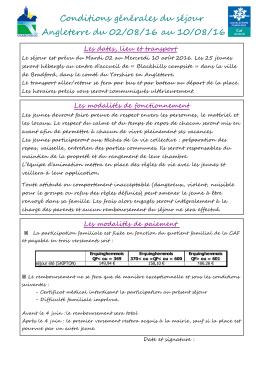 Conditions générales du séjour Angleterre du 02/08/16 au 10/08/16