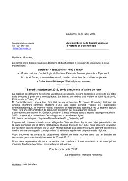 Collections de printemps - SVHA - Société Vaudoise d`Histoire et d