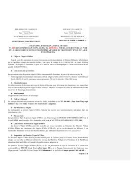 AONO N° 113 CAMWATER-AG fr - Ministère des Marchés Publics