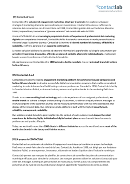 [IT] ContactLab S.p.A Contactlab offre soluzioni di engagement