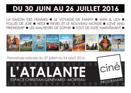 programme cine juillet 2016