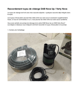 Raccordement tuyau de vidange DAB Nova Up