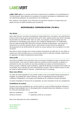 Responsable communication à 70-80% au 1er