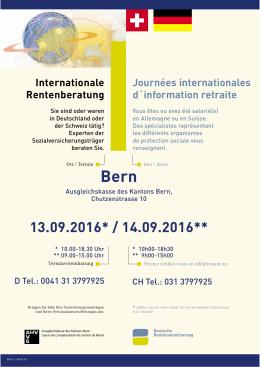 13.09.2016* / 14.09.2016** Bern