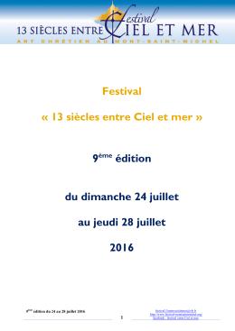 """Dossier de presse 2016 - Festival """"13 siècles entre Ciel et mer"""" au"""