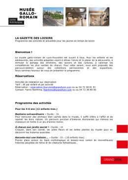 Programme pour les centres de loisirs - Musée gallo