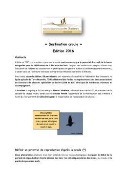 Bilan des comptages croûle 2016 - Fédération des chasseurs de la