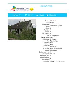 Maison à vendre Klingenthal MERCOR