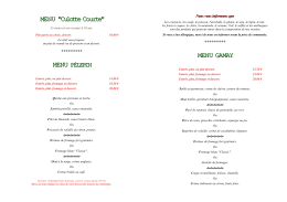 "MENU ""Culotte Courte"" MENU GAMAY"