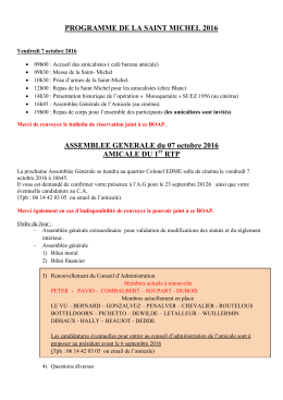 Informations Saint Michel 2016