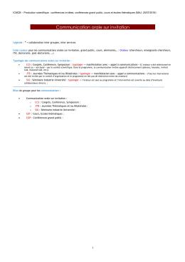 Communications sur invitations - Institut de Chimie de la Matière