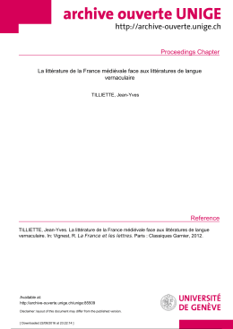 Proceedings chapter - Archive ouverte UNIGE