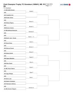 Tableau messieurs 2016 - Tennis Club de Grandson