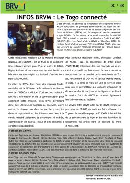INFOS BRVM : Le Togo connecté