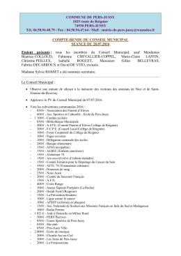 Compte-rendu du Conseil Municipal du 28/07/2016.