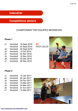 Calendrier - Usmpt Tennis de Table