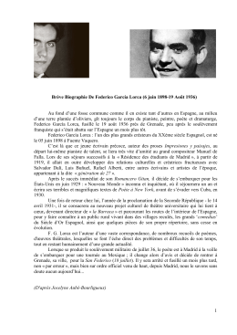 Brève Biographie De Federico García Lorca (6 juin 1898