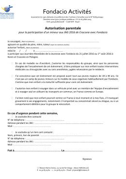 L`autorisation parentale de participation aux JMJ