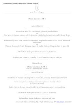 Carte du Gourmet de l`Ile - Restaurants du Château de l`Ile