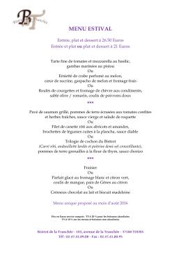 Découvrez ici le menu proposé au mois d`août