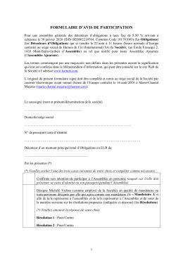 FORMULAIRE D`AVIS DE PARTICIPATION