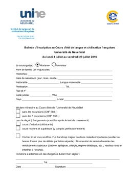 Bulletin d`inscription au cours