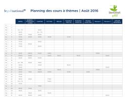 Planning des cours à thèmes   Août 2016