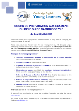 cours de preparation aux examens du delf ou de cambridge yle
