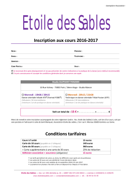 Inscription aux cours 2016-2017 Conditions tarifaires