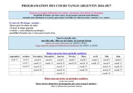 PROGRAMATION DES COURS TANGO ARGENTIN 2016-2017