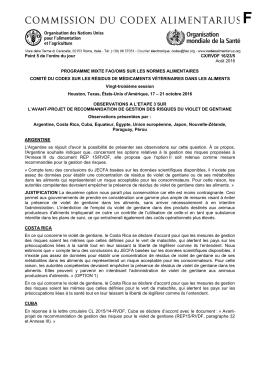 Point 5 de l`ordre du jour CX/RVDF 16/23/5 Août 2016