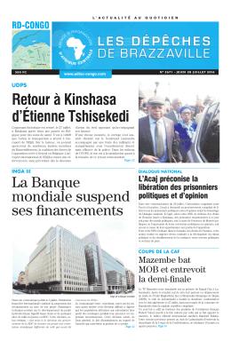 Retour à Kinshasa d`Étienne Tshisekedi